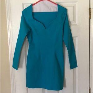 Dresses & Skirts - Bright blue sweetheart long sleeve dress